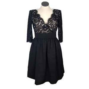 Eliza J Women 12 Lace Faille Surplice Cocktail Dress Fitted Black 3/4 Sleeves